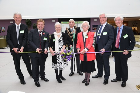 Bournville Gardens Village official opening - L-R Peter Roach, Chief Executive of Bournville Village Trust, Cllr John Cotton, cabinet member for Neighbourhood Management and Homes, Myfanwy Sinclair, future Bournville Gardens resident, Lord Mayor of Birmingham Cllr Raymond Hassall, Norma Broadbridge MBE, future Bournville Gardens resident, Mark Curran, Acting Chief Executive of The ExtraCare Charitable Trust, Duncan Cadbury, chair of Trustees at Bournville Village Trust