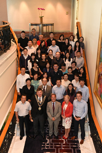 Lord Mayor Cllr Carl Rice leads the festivities at the Four Seasons Hotel, Shanghai, as Birmingham City University celebrates 10 years in China